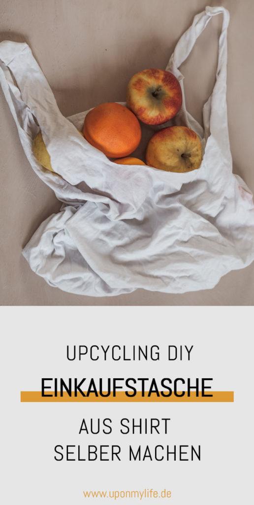 Günstige DIY Upcycling Idee: Einkaufstasche aus Shirt selber machen ist total einfach. In 5 Minuten und ohne Nähmaschine schnell eine Tasche machen. #upocycling #diy #zerowaste
