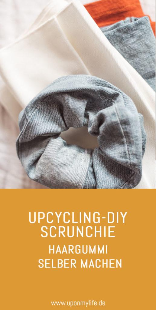 Upcycling DIY Scrunchie: Haargummi selber machen ist total einfach. Ich nehme Stoffreste, schneide sie zu, nähe sie zusammen und fertig. #upcycling #diy #scrunchie
