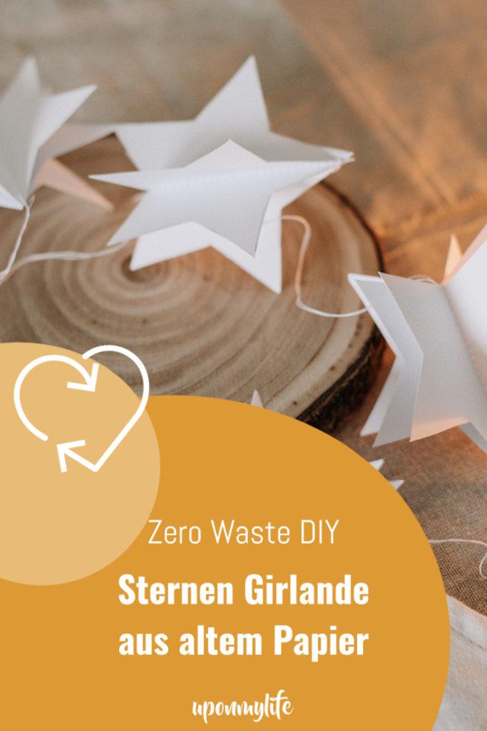 Zero Waste DIY Sternen Girlande aus altem Papier einfach selber machen und weihnachtlich dekorieren. Altes Papier zu Weihnachtsdeko upcyceln.