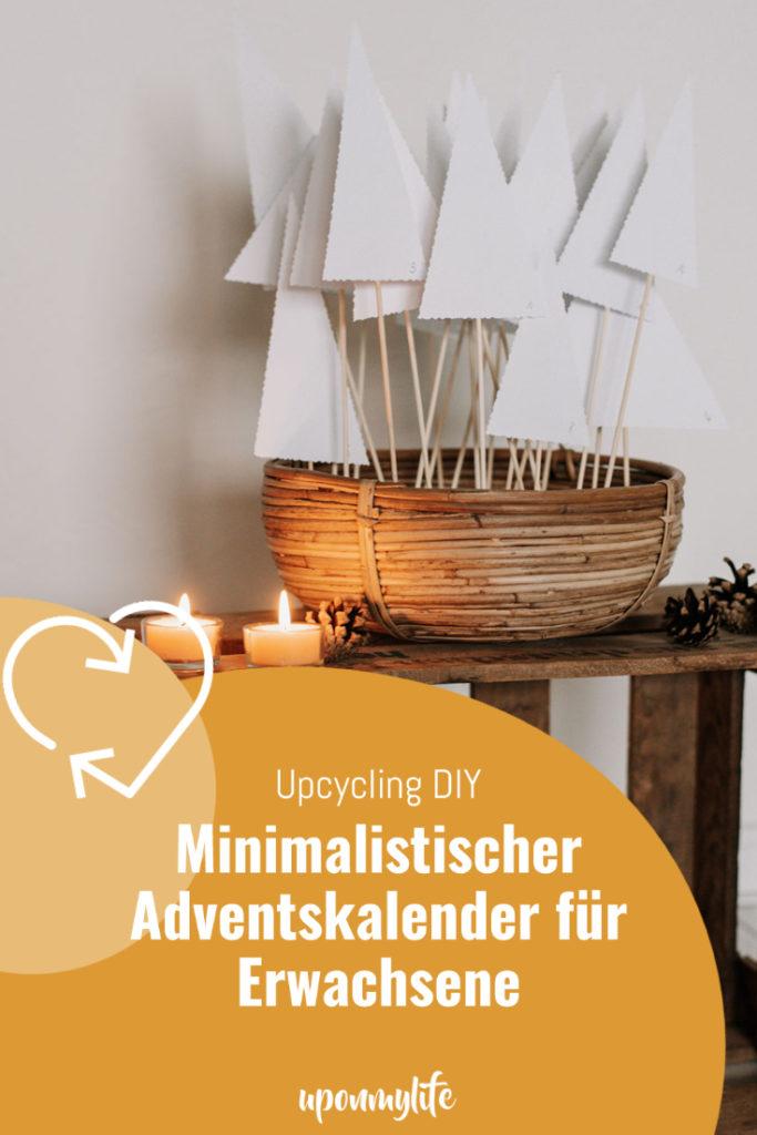 Minimalistischer Upcycling Adventskalender für Erwachsene - Bäumchen selber basteln & mit kleinen Texten befüllen. Ganz plastikfrei!