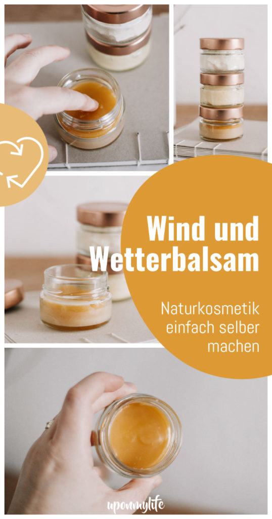 Wind und Wetterbalsam selber machen aus natürlichen, veganen Rohstoffen. Anleitung für selbstgemachten DIY Winterbalsam gegen trockene Haut.